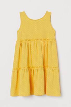 H&M Cotton Jersey Dress - Yellow