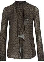 Belstaff Printed Ruffled Silk-Georgette Shirt