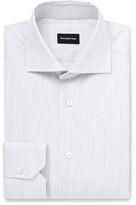 Ermenegildo Zegna Cutaway-collar Striped Cotton Shirt - Gray