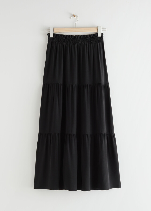 Thumbnail for your product : And other stories Smocked Waist Tiered Midi Skirt