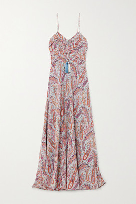 Etro Tasseled Paisley-print Silk Crepe De Chine Maxi Dress - Light blue