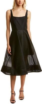 Halston Striped Mesh Silk-Blend Midi Dress