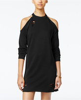 Planet Gold Juniors' Ripped Raw-Edge Cold-Shoulder Sweatshirt Dress