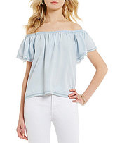Chelsea & Theodore Ruffled Off-the-Shoulder Chambray Top