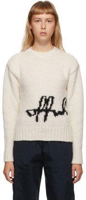 Off-White White Intarsia Logo Sweater