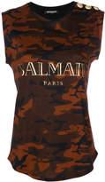 Balmain camouflage tank top