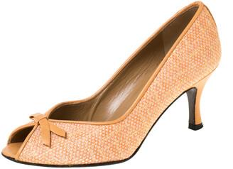 Stuart Weitzman Orange Tweed Fabric Bow Detail Peep Toe Pumps Size 36