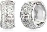 Escada Sterling Emblem Hinged with Cubic Zirconia Hoop Earrings