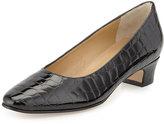 Neiman Marcus Abbie Crocodile-Embossed Patent Pump, Black