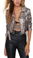 Allonly Women Punk Moto Biker Faux Leather Jacket Fashion Short Coat