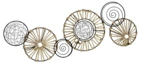 Stratton Home Decor Metal and Rattan Large Centerpiece Wall Decor