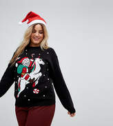 Club L Plus Santa On A Unicorn Christmas Jumper