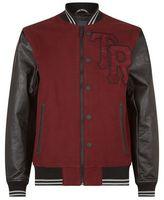 True Religion Leather Sleeve Varsity Jacket