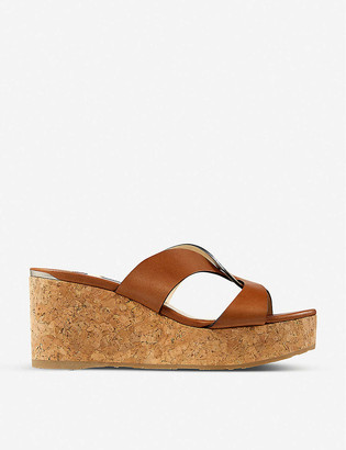 Jimmy Choo Atia 75 platform leather wedge sandals