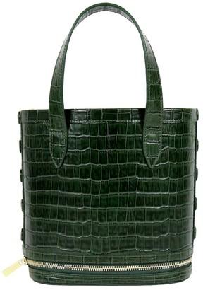 Neely & Chloe The Packable Croc-Embossed Leather Bucket Bag