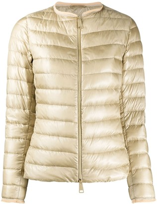 Herno Collarless Quilted-Down Jacket