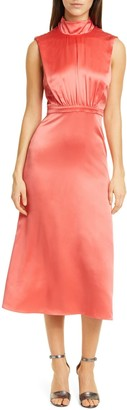 Saloni Fleur Split Back Silk Satin Dress