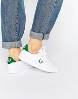 Fred Perry White and Green Leather Sneakers