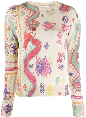 Etro Patterned Jacquard Long-Sleeved Top