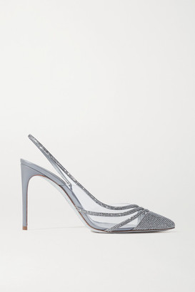 Rene Caovilla Crystal-embellished Satin And Pvc Slingback Pumps - Silver
