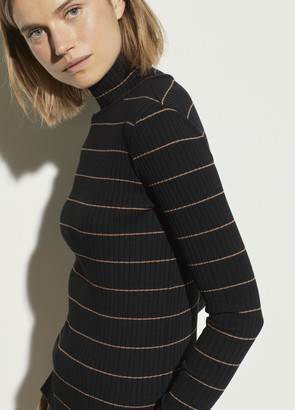 Vince Striped Rib Turtleneck