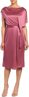 Santorelli Nala Asymmetric Stretch Satin Dress