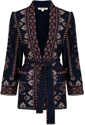 Monsoon Embroidered Sustainable Jacket - Navy