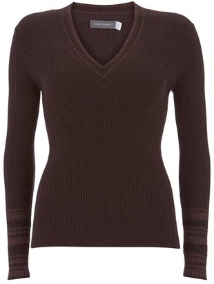 Mint Velvet Chocolate V-Neck Knit Jumper