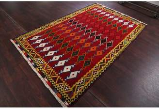 Levi's Isabelline One-of-a-Kind Classical Kilim Shiraz Lori Persian Traditional Hand-Knotted 5' x 8' Wool Yellow/Red Area Rug Isabelline