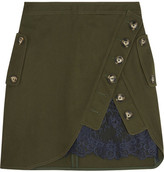 Self-Portrait Lace-paneled Cotton-twill Mini Skirt - Army green