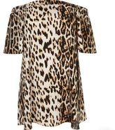 River Island Womens Plus brown leopard print bardot dress