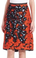 Oscar de la Renta Embroidered High-Low Skirt