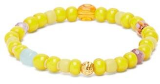 Musa By Bobbie - Aquamarine, Amethyst & 18kt Gold Bead Bracelet - Yellow