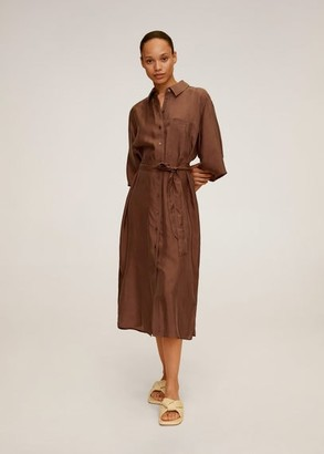 MANGO Belted cupro dress chocolate - 2 - Women