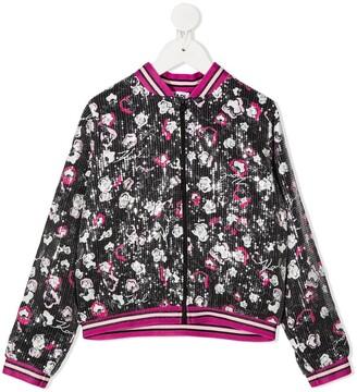 Karl Lagerfeld Paris Floral Print Sequinned Jacket