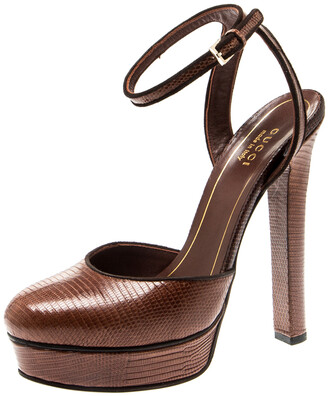 Gucci Brown Lizard Leather Platform Ankle Strap Sandals Size 36.5