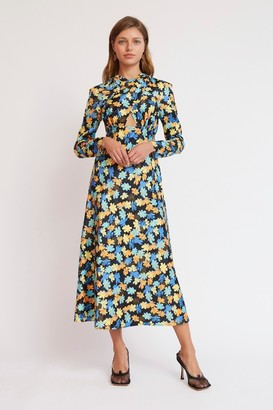 Finders Keepers SIRENE LONG SLEEVE DRESS Black Fleur