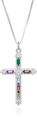 Rachel Jackson London Gemstone Statement Cross Necklace - Silver