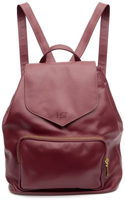 Holly & Tanager Protege Leather Mini Backpack In Burgundy