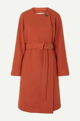 Chloé Belted Wool-blend Felt Coat - Orange