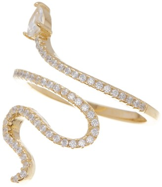 ADORNIA 14K Gold Plated Swarovski Crystal Accented Winding Snake Ring