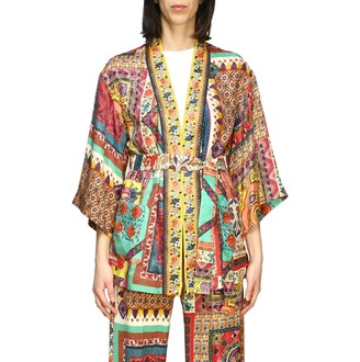 Etro Jacket Silk Cardigan With Patchwork Print And Belt