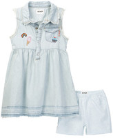 Hudson Denim Dress & Short Set (Toddler Girls)
