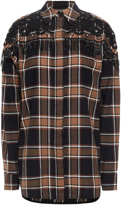 Sandro Beans Embellished Checked Cotton-flannel Shirt