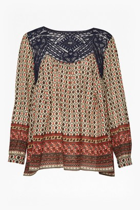 French Connection Lace and Printed Crepe Smock Top