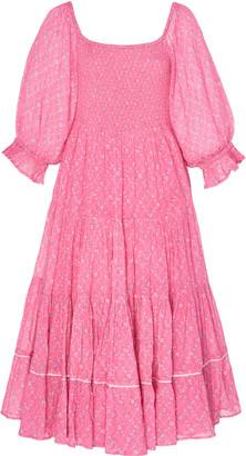 LoveShackFancy Rigby Pleated Cotton Midi Dress
