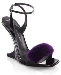 Giuseppe Zanotti Garconne 105 Mink Fur & Patent Leather Sculpted Wedge Sandals