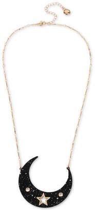 BCBGeneration Gold-Tone Pave & Star Splatter Moon Pendant Necklace, 20