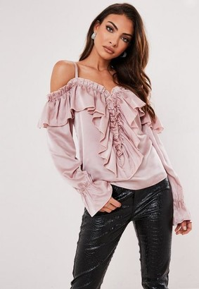 Missguided Satin Cold Shoulder Ruffle Front Top