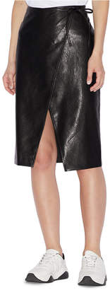 Armani Exchange Faux-Leather Wrap Skirt